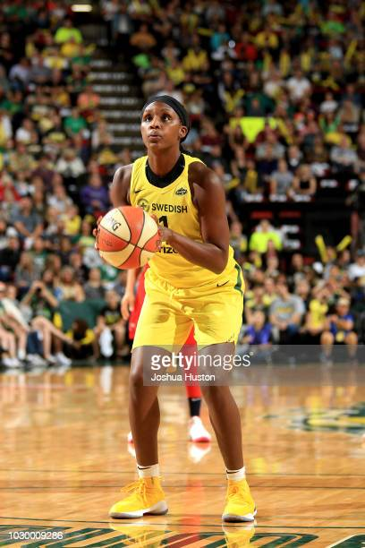 Crystal Langhorne of the Seattle Storm handles the ball against the Washington Mystics during Game Two of the 2018 WNBA Finals on September 09 2018...