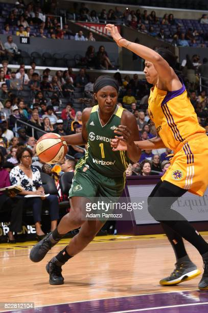 Crystal Langhorne of the Seattle Storm handles the ball against the Los Angeles Sparks on July 25 2017 at STAPLES Center in Los Angeles California...