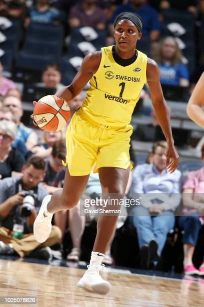 Crystal Langhorne of the Seattle Storm handles the ball during the game against the Minnesota Lynx on August 12 2018 at Target Center in Minneapolis...