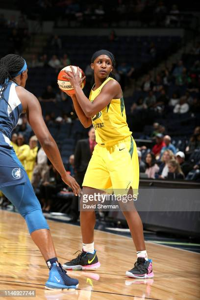 Crystal Langhorne of the Seattle Storm handles the ball during the game against the Minnesota Lynx on May 29 2019 at the Target Center in Minneapolis...