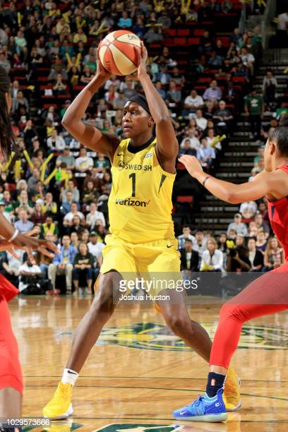 Crystal Langhorne of the Seattle Storm looks to pass against the Washington Mystics during Game One of the 2018 WNBA Finals on September 07 2018 at...