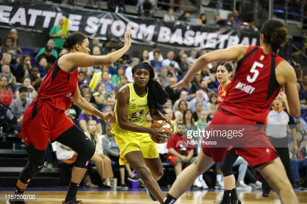 Crystal Langhorne of the Seattle Storm looks to pass the ball during the game against the Las Vegas Aces on July 19 2019 at the Alaska Airlines Arena...