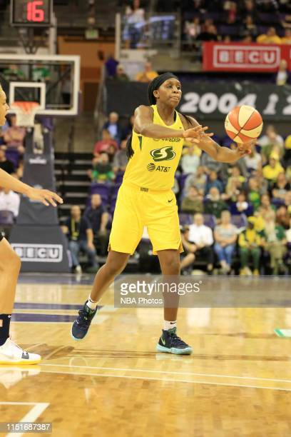 Crystal Langhorne of the Seattle Storm passes the ball against the Indiana Fever on June 23 2019 at the Angel of the Winds Arena in Everett...