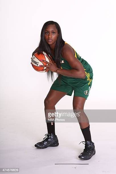 Crystal Langhorne of the Seattle Storm poses for WNBA Media Day on May 23 2015 at Key Arena in Seattle Washington NOTE TO USER User expressly...