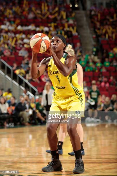 Crystal Langhorne of the Seattle Storm shoots a free throw against the Connecticut Sun on July 12 2017 at Key Arena in Seattle Washington NOTE TO...