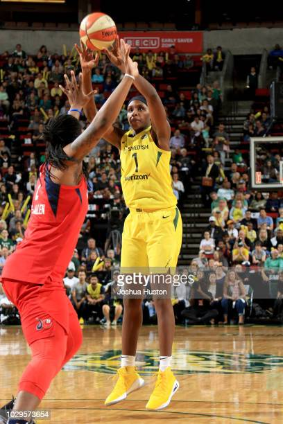 Crystal Langhorne of the Seattle Storm shoots the ball against the Washington Mystics during Game One of the 2018 WNBA Finals on September 07 2018 at...