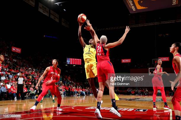 Crystal Langhorne of the Seattle Storm shoots the ball against the Washington Mystics during Game Three of the 2018 WNBA Finals on September 12 2018...