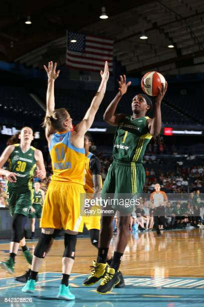Crystal Langhorne of the Seattle Storm shoots the ball against the Chicago Sky on September 3 2017 at Allstate Arena in Rosemont IL NOTE TO USER User...