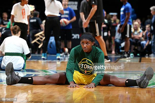 Crystal Langhorne of the Seattle Storm stretches before the game against the Minnesota Lynx during the WNBA game on August 28 2016 at Target Center...