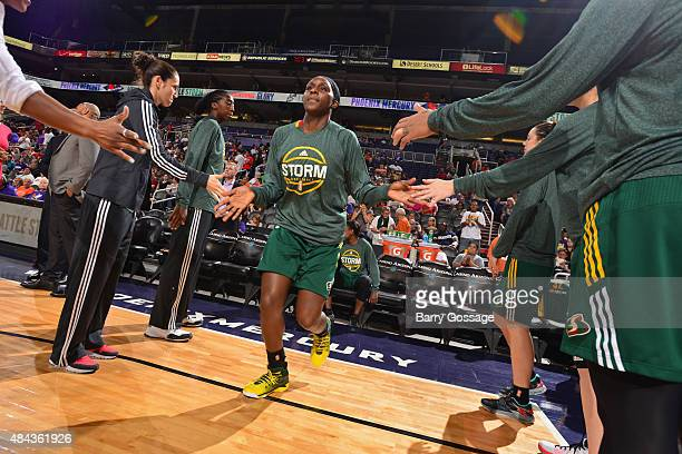 Crystal Langhorne of the Seattle Storm walks onto the court before a game against the Phoenix Mercury on August 12 2015 at Talking Stick Resort Arena...