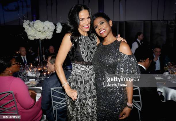 Crystal McCrary and Jacque Reid attend the NAACP LDF 32nd National Equal Justice Awards Dinner at The Ziegfeld Ballroom on November 1 2018 in New...