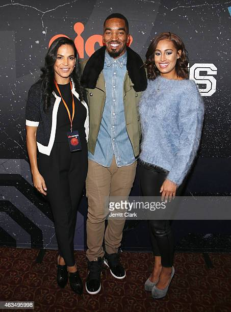 Crystal McCrary JR Smith and Skylar Diggins attend the Little Ballers Screening during NBA AllStar Weekend 2015 at Pier Sixty at Chelsea Piers on...