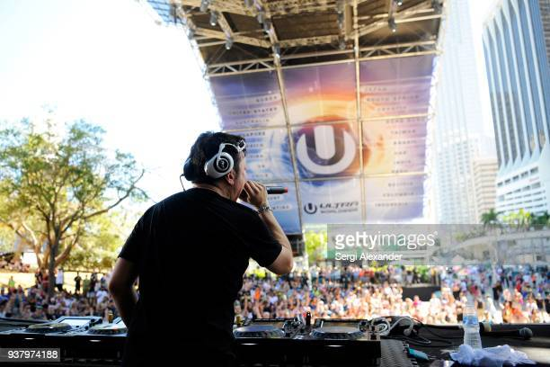 Crystal Method performs on stage at Ultra Music Festival at Bayfront Park on March 25 2018 in Miami Florida