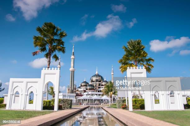 crystal mosque on sunny day - crystal mosque stock pictures, royalty-free photos & images