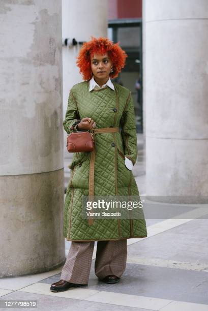 Crystal Murray poses wearing Chloe after the Chloe show at the Palais de Tokyo during Paris Fashion Week - Womenswear Spring Summer 2021 on October...