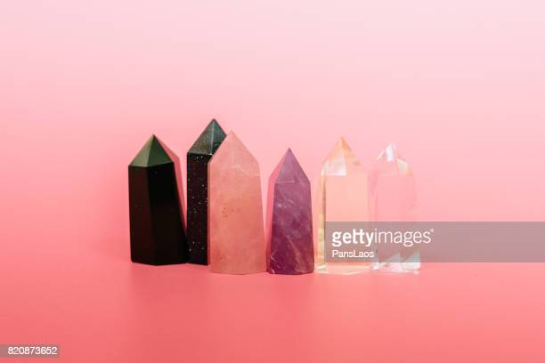 crystal on pink - crystal stock pictures, royalty-free photos & images