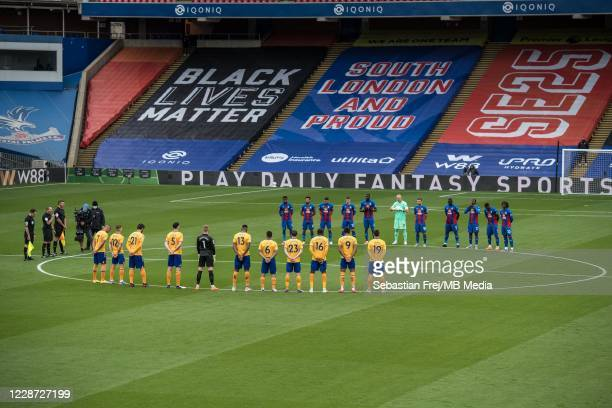 Crystal Palace and Everton players observe a minute of silence in memory of Police Sargent Matt Ratana, who lost his life in the line of duty prior...