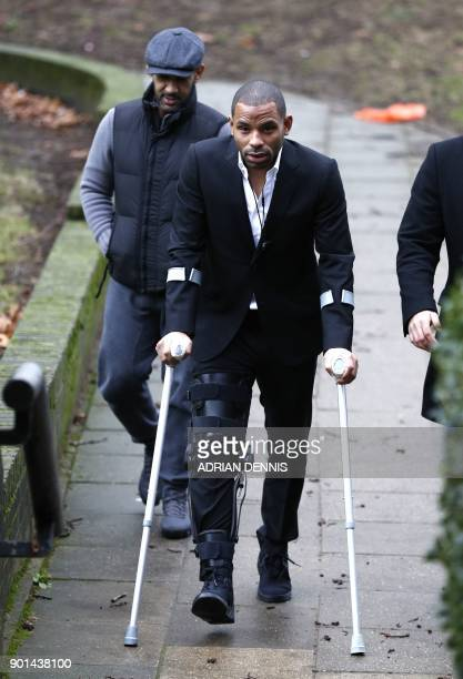 Crystal Palace captain Jason Puncheon arrives at court in Guildford south of London on January 5 2018 Puncheon was arrested on December 17 2017...