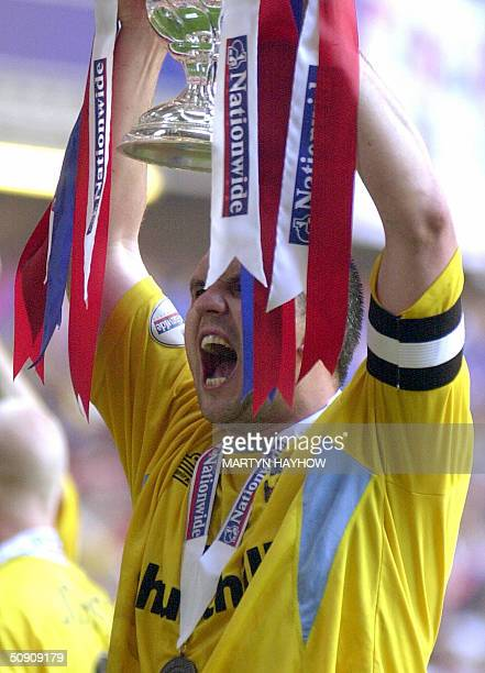 Crystal Palace captain Neil Shipperley celebrates after defeating West Ham in the Nationwide Division One play off against West Ham at Cardiff's...