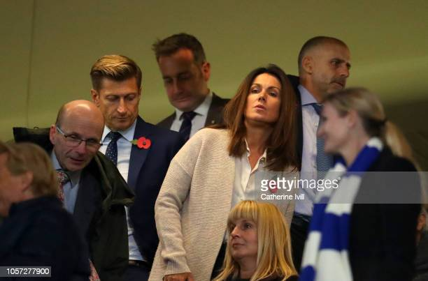 Crystal Palace chairman Steve Parish and TV presenter Susanna Reid are seen in the stands during the Premier League match between Chelsea FC and...