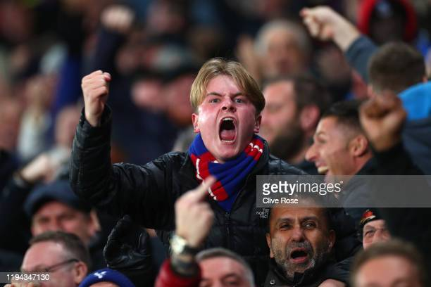 Crystal Palace fan celebrates his team's first goal during the Premier League match between Crystal Palace and Brighton Hove Albion at Selhurst Park...