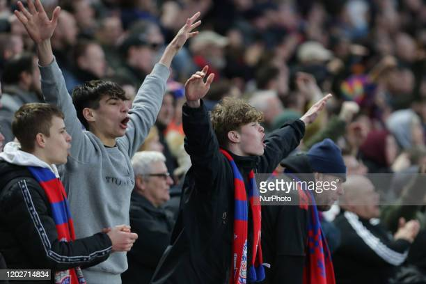 A Crystal Palace fan chanting during the Premier League match between Crystal Palace and Newcastle United at Selhurst Park London on Saturday 22nd...