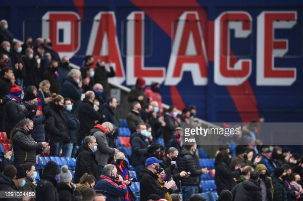 Crystal Palace fans are seen in the stands prior to the Premier League match between Crystal Palace and Tottenham Hotspur at Selhurst Park on...