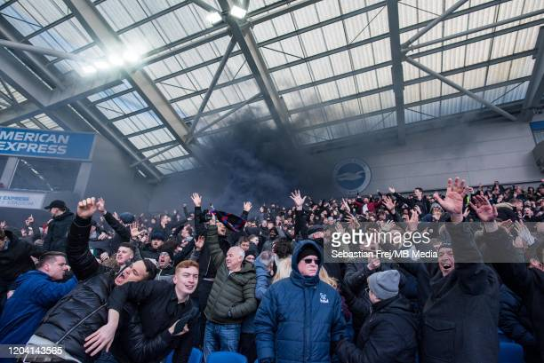Crystal Palace fans celebrate goal during the Premier League match between Brighton Hove Albion and Crystal Palace at American Express Community...
