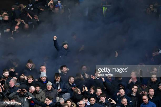 Crystal Palace fans celebrate their sides first goal during the Premier League match between Brighton & Hove Albion and Crystal Palace at American...