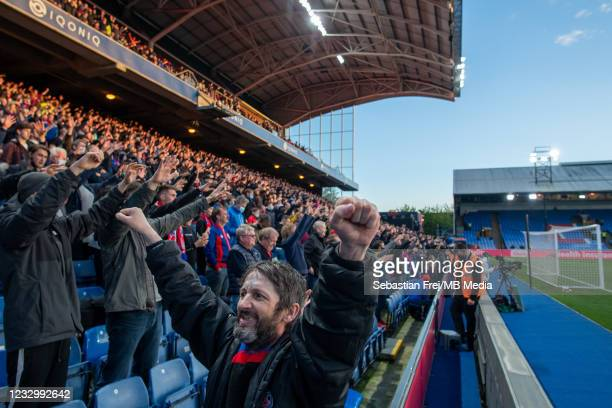 Crystal Palace fans during the Premier League match between Crystal Palace and Arsenal at Selhurst Park on May 19, 2021 in London, United Kingdom. A...