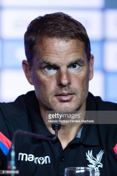 Crystal Palace FC head coach Frank de Boer talks during a Premier League Asia Trophy Press Conference at Grand Hyatt Hotel on July 21 2017 in Hong...