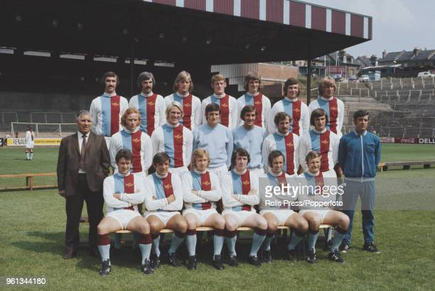 Crystal Palace football squad posed together on the pitch at Selhurst Park stadium in south London during the 197172 season in August 1972 The team...
