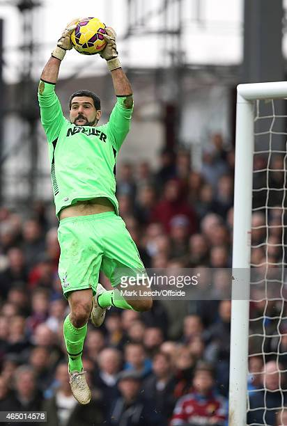 Crystal Palace goalkeeper Julian Speroni catches the ball during the Barclays Premier League match between West Ham United and Crystal Palace at...