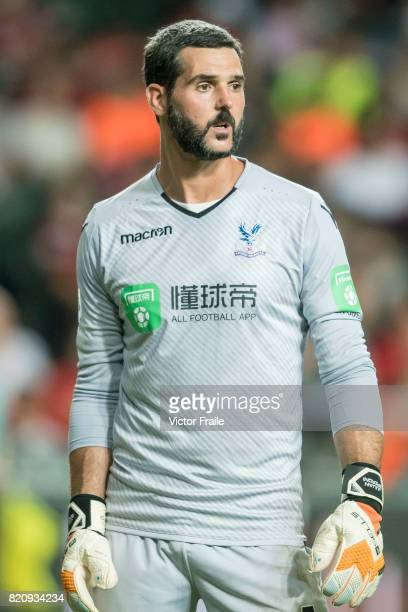 Crystal Palace goalkeeper Julian Speroni reacts during the Premier League Asia Trophy match between West Brom and Crystal Palace at Hong Kong Stadium...