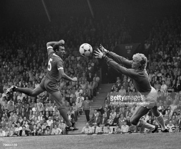 16th August 1980 Anfield Liverpool Liverpool 3 v Crystal Palace 0 Liverpool's Ray Kennedy heads goalwards and his effort is saved by Crystal Palace...
