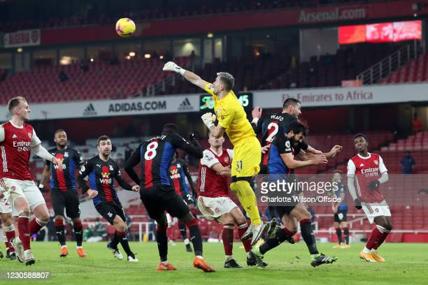 Crystal Palace goalkeeper Vicente Guaita punches the ball clear during the Premier League match between Arsenal and Crystal Palace at Emirates...