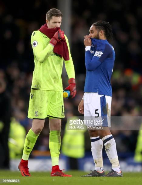 Crystal Palace goalkeeper Wayne Hennessey and Everton's Ashley Williams talk to each other after the end of the Premier League match at Goodison Park...