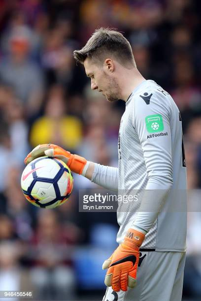 Crystal Palace goalkeeper Wayne Hennessey looks on during the Premier League match between Crystal Palace and Brighton and Hove Albion at Selhurst...