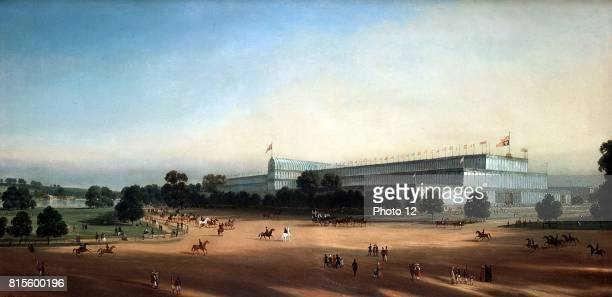 Crystal Palace Hyde Park ironframed glass building designed by Joseph Paxton and erected for the Great Exhibition of 1851 Queen Victoria's carriage...