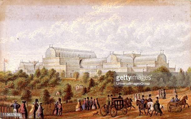 Crystal Palace Hyde Park London England Building designed by Joseph Paxton English gardener and architect to house the Great Exhibition of 1851...