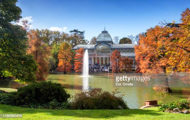 crystal palace in parque del retiro at autumn, madrid - madrid imagens e fotografias de stock