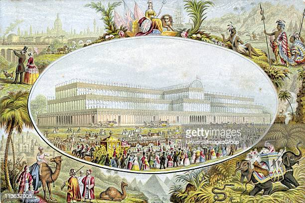 Crystal Palace London designed by Joseph Paxton Queen Victoria arriving to open Great Exhibition 1 May 1851 Emblems of British Empire surrounding...