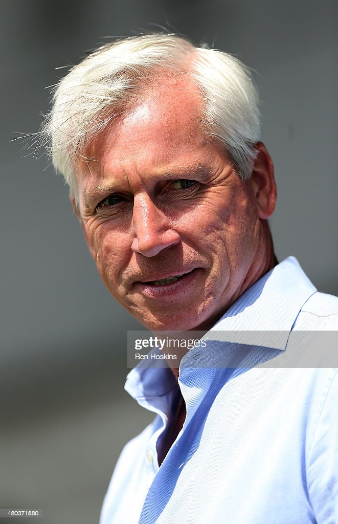 Crystal Palace manager Alan Pardew looks on ahead of a Pre Season Friendly between Barnet and Crystal Palace at The Hive on July 11, 2015 in Barnet, England.