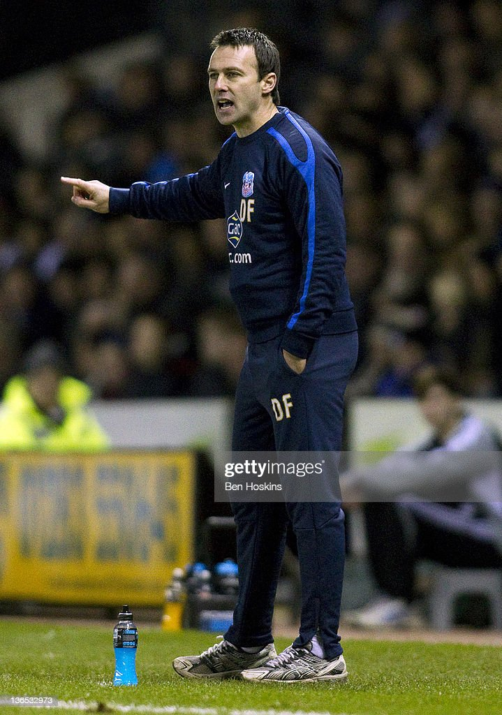Crystal Palace manager Dougie Freedman shouts instructions during the FA Cup sponsored by Budweiser Third Round match between Derby County FC and Crystal Palace FC at Pride Park on January 7, 2012 in Derby, England.
