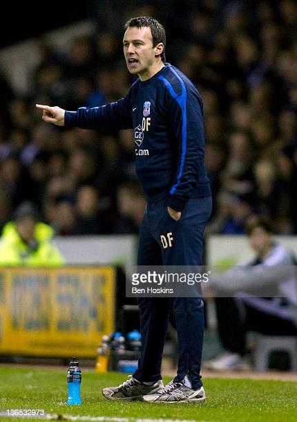 Crystal Palace manager Dougie Freedman shouts instructions during the FA Cup sponsored by Budweiser Third Round match between Derby County FC and...