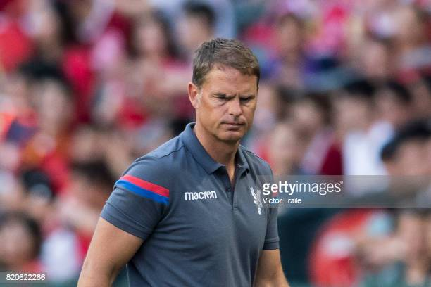 Crystal Palace manager Frank de Boer reacts during the Premier League Asia Trophy match between West Brom and Crystal Palace at Hong Kong Stadium on...