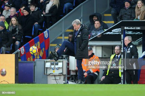Crystal Palace manager Roy Hodgson during the Premier League match between Crystal Palace and Burnley at Selhurst Park on January 13 2018 in London...