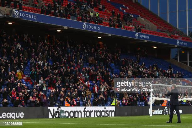 Crystal Palace manager Roy Hodgson looks to the fans in the Holmesdale Road stand as they applaud him for his last ever home game as manager of...