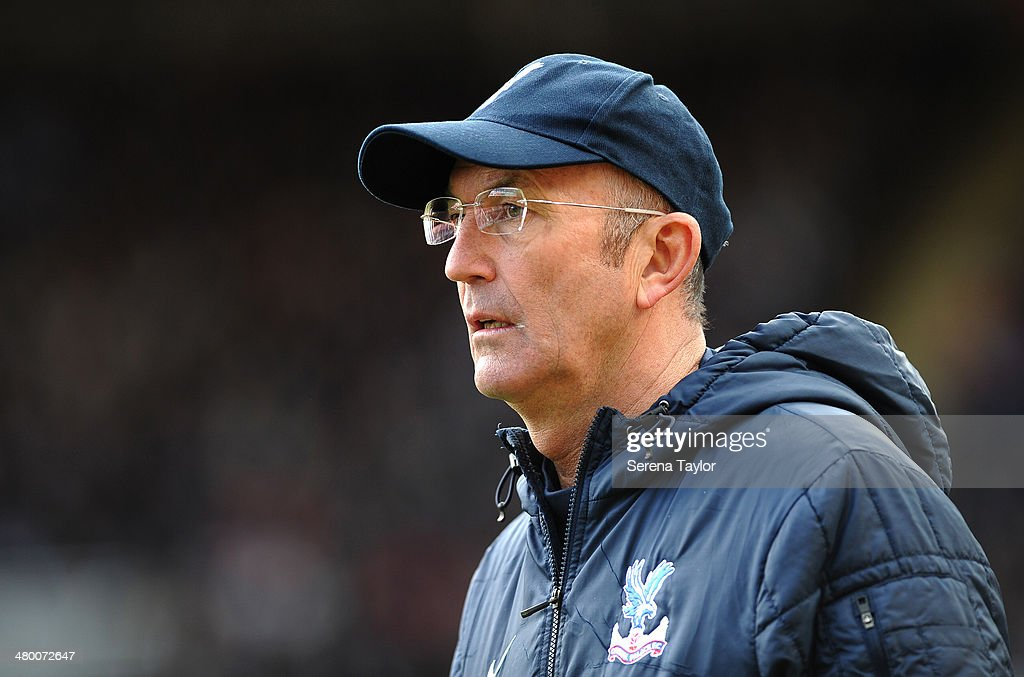 Crystal Palace manager Tony Pulis looks on from the sideline during the Barclays Premier League match between Newcastle United and Crystal Palace at St. James' Park on March 22, 2014, in Newcastle upon Tyne, England.