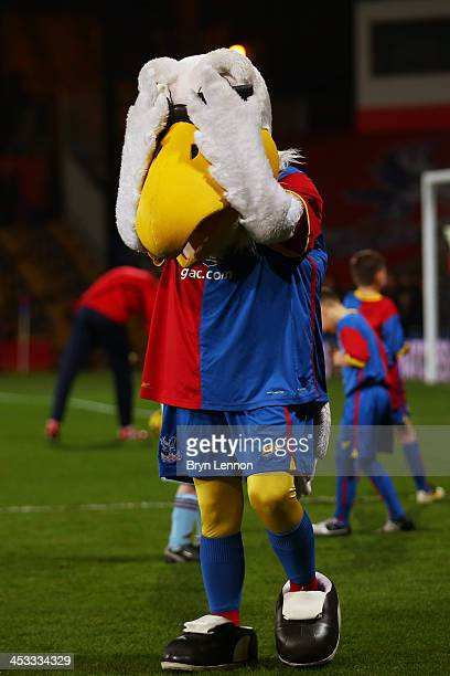 Crystal Palace mascot Pete the Eagle plays football with mascots prior to kickoff during the Barclays Premier League match between Crystal Palace and...
